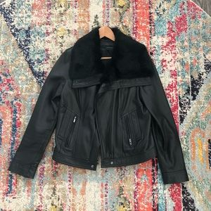 Real leather and fur color coat